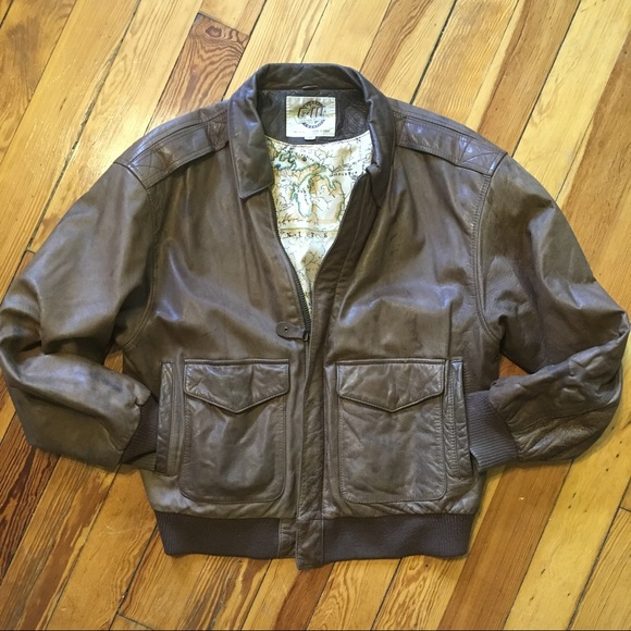 99c3ffb25 Leather Jacket w Map Lining - Vintage Classic